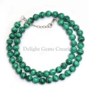 Shop Malachite Necklaces! Malachite Beaded Necklace, 7-8mm Malachite Smooth Round Beads, Opaque Green-Banded Malachite Gemstone Necklace, Mineral Beads, Gift For Her | Natural genuine Malachite necklaces. Buy crystal jewelry, handmade handcrafted artisan jewelry for women.  Unique handmade gift ideas. #jewelry #beadednecklaces #beadedjewelry #gift #shopping #handmadejewelry #fashion #style #product #necklaces #affiliate #ad