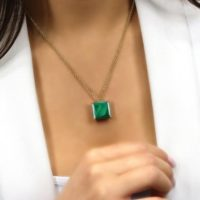 Stunning Malachite Pendant · Square Malachite Necklace · Square Necklace · Malachite Stone Jewelry · Mothers Day Gift | Natural genuine Gemstone jewelry. Buy crystal jewelry, handmade handcrafted artisan jewelry for women.  Unique handmade gift ideas. #jewelry #beadedjewelry #beadedjewelry #gift #shopping #handmadejewelry #fashion #style #product #jewelry #affiliate #ad