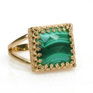Shop Malachite Rings! 14k Rose Gold Ring · Malachite Ring · Mom Ring · Vintage Ring · Crown Ring · Gemstone Ring · Handmade Ring · Square Ring · Stacking Ring | Natural genuine Malachite rings, simple unique handcrafted gemstone rings. #rings #jewelry #shopping #gift #handmade #fashion #style #affiliate #ad