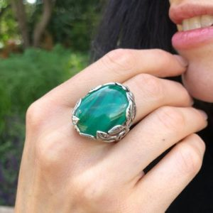Shop Malachite Rings! Large Malachite Ring, Natural Malachite, Leaf Ring, Oval Ring, Statement Ring, Green Ring, Floral Ring, Green Vintage Ring, 925 Silver Ring | Natural genuine Malachite rings, simple unique handcrafted gemstone rings. #rings #jewelry #shopping #gift #handmade #fashion #style #affiliate #ad