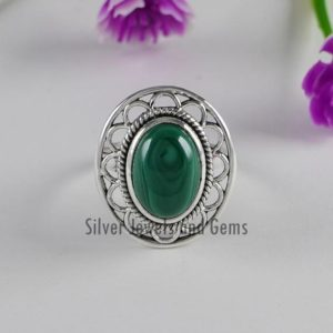 Shop Malachite Rings! Natural Malachite Ring-Handmade Ring-925 Sterling Silver Ring-Oval Malachite Designer Ring-Taurus Birthstone-Promise Ring-Boho Ring | Natural genuine Malachite rings, simple unique handcrafted gemstone rings. #rings #jewelry #shopping #gift #handmade #fashion #style #affiliate #ad