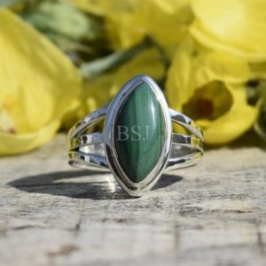 Shop Malachite Rings! Simple Malachite Ring, Marquise Shape, 925 Sterling Silver, Green Color Stone, Beautiful Ring, Triple Band Ring, Bezel Set, Handmade Ring | Natural genuine Malachite rings, simple unique handcrafted gemstone rings. #rings #jewelry #shopping #gift #handmade #fashion #style #affiliate #ad