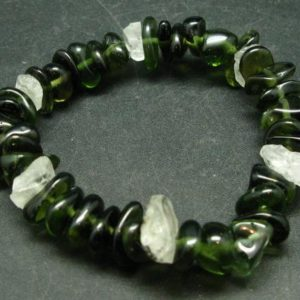 Shop Moldavite Bracelets! Moldavite Tektite  from Czech Republic and Phenakite Phenacite Crystal from Russia Bracelet  – 7 Inches – 24.2 Grams | Natural genuine Moldavite bracelets. Buy crystal jewelry, handmade handcrafted artisan jewelry for women.  Unique handmade gift ideas. #jewelry #beadedbracelets #beadedjewelry #gift #shopping #handmadejewelry #fashion #style #product #bracelets #affiliate #ad