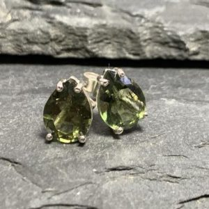 Shop Moldavite Jewelry! Genuine faceted 7mm Moldavite studs with Certificate of Authenticity | Natural genuine Moldavite jewelry. Buy crystal jewelry, handmade handcrafted artisan jewelry for women.  Unique handmade gift ideas. #jewelry #beadedjewelry #beadedjewelry #gift #shopping #handmadejewelry #fashion #style #product #jewelry #affiliate #ad