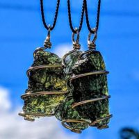 Moldavite Necklace In Gold! 12 Kt Genuine Czech Tektite Pendant. Synergy 12 Chakra Crystal. Metaphysical Jewelry Alien Meteorite Wire Wrap. | Natural genuine Gemstone jewelry. Buy crystal jewelry, handmade handcrafted artisan jewelry for women.  Unique handmade gift ideas. #jewelry #beadedjewelry #beadedjewelry #gift #shopping #handmadejewelry #fashion #style #product #jewelry #affiliate #ad
