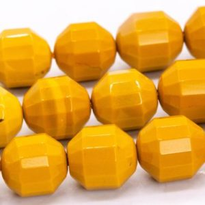 """Shop Mookaite Jasper Faceted Beads! 10x9MM Yellow Mookaite Beads Faceted Bicone Barrel Drum Grade AAA Genuine Natural Loose Beads 14.5"""" / 7.5"""" Bulk Lot Options (115644) 