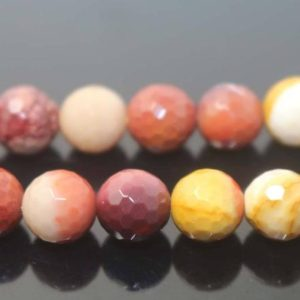 """Shop Mookaite Jasper Faceted Beads! 128 Faceted Mookaite Round Beads, 6mm 8mm 10mm 12mm Beads Bulk Supply, one Strand 15"""" 