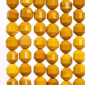 Shop Mookaite Jasper Faceted Beads! 38 / 19 Pcs – 10x9MM Yellow Mookaite Beads Grade AAA Genuine Natural Faceted Bicone Barrel Drum Gemstone Loose Beads (115644) | Natural genuine faceted Mookaite Jasper beads for beading and jewelry making.  #jewelry #beads #beadedjewelry #diyjewelry #jewelrymaking #beadstore #beading #affiliate #ad