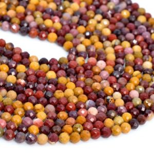 """Shop Mookaite Jasper Faceted Beads! 5MM Mookaite Beads Grade AAA Genuine Natural Gemstone Half Strand Faceted Round Loose Beads 7.5"""" Bulk Lot Options (107640h-2495) 