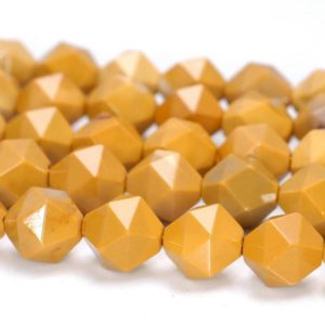 """Shop Mookaite Jasper Faceted Beads! 6mm Yellow Mookaite Beads Star Cut Faceted Grade Aaa Genuine Natural Gemstone Loose Beads 7.5"""" Bulk Lot 1, 3, 5, 10 And 50 (80005198 H-m19) 