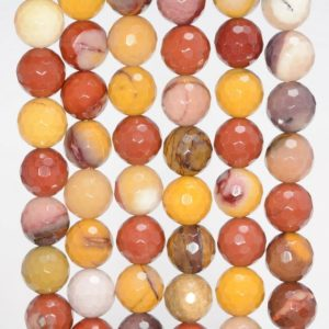 Shop Mookaite Jasper Faceted Beads! 8mm Mookaite Gemstone Yellow Brown Faceted Round 8mm Loose Beads 7 inch Half Strand (90144773-237) | Natural genuine faceted Mookaite Jasper beads for beading and jewelry making.  #jewelry #beads #beadedjewelry #diyjewelry #jewelrymaking #beadstore #beading #affiliate #ad