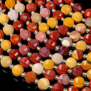 Shop Mookaite Jasper Faceted Beads! Mookaite Gemstone Grade AAA Faceted Lantern 8MM 10MM Loose Beads BULK LOT 1,2,6,12 and 50 (D40) | Natural genuine faceted Mookaite Jasper beads for beading and jewelry making.  #jewelry #beads #beadedjewelry #diyjewelry #jewelrymaking #beadstore #beading #affiliate #ad