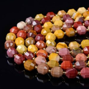 Shop Mookaite Jasper Faceted Beads! Mookaite Gemstone Grade AAA Faceted Prism Double Point Cut 6MM 8MM 10MM Loose Beads (D32) | Natural genuine faceted Mookaite Jasper beads for beading and jewelry making.  #jewelry #beads #beadedjewelry #diyjewelry #jewelrymaking #beadstore #beading #affiliate #ad