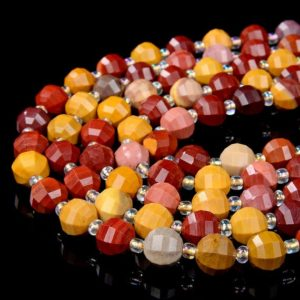 Shop Mookaite Jasper Faceted Beads! Mookaite Gemstone Grade AAA Faceted Lantern 8MM 10MM Loose Beads (D40) | Natural genuine faceted Mookaite Jasper beads for beading and jewelry making.  #jewelry #beads #beadedjewelry #diyjewelry #jewelrymaking #beadstore #beading #affiliate #ad