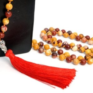 """Shop Mookaite Jasper Necklaces! 8MM Mookaite Mala Beads 108 Pcs Grade AAA Necklace 41"""" Genuine Natural Round Gemstone with Tassel BULK LOT 1,3,5,10,50 (106815-083) 