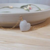 Moonstone Heart Necklace, Moonstone Crystal Jewelry, Carved Gemstone Heart For Girlfriend Gift | Natural genuine Gemstone jewelry. Buy crystal jewelry, handmade handcrafted artisan jewelry for women.  Unique handmade gift ideas. #jewelry #beadedjewelry #beadedjewelry #gift #shopping #handmadejewelry #fashion #style #product #jewelry #affiliate #ad