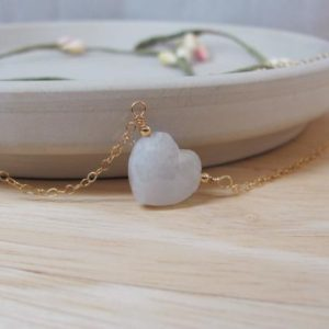 Shop Moonstone Necklaces! Moonstone Heart Necklace, Moonstone Crystal Jewelry, Carved Gemstone Heart for Girlfriend Gift | Natural genuine Moonstone necklaces. Buy crystal jewelry, handmade handcrafted artisan jewelry for women.  Unique handmade gift ideas. #jewelry #beadednecklaces #beadedjewelry #gift #shopping #handmadejewelry #fashion #style #product #necklaces #affiliate #ad