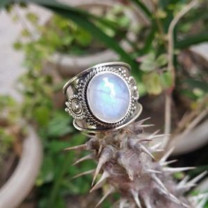 Moonstone Ring, Moonstone Gemstone Sterling Silver Ring, Moonstone Jewelry, June Birthstone, Boho Ring, Wide Band Ring | Natural genuine Gemstone rings, simple unique handcrafted gemstone rings. #rings #jewelry #shopping #gift #handmade #fashion #style #affiliate #ad