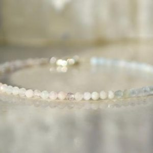 Morganite bracelet, bracelet femme – delicate ombre bracelet with sterling silver, gemstone beaded bracelet –  mothers day gift | Natural genuine Morganite bracelets. Buy crystal jewelry, handmade handcrafted artisan jewelry for women.  Unique handmade gift ideas. #jewelry #beadedbracelets #beadedjewelry #gift #shopping #handmadejewelry #fashion #style #product #bracelets #affiliate #ad