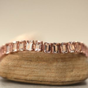 Shop Morganite Bracelets! Morganite Tennis Bracelet Emerald Cut with Safety Clasp LS6316   Natural genuine Morganite bracelets. Buy crystal jewelry, handmade handcrafted artisan jewelry for women.  Unique handmade gift ideas. #jewelry #beadedbracelets #beadedjewelry #gift #shopping #handmadejewelry #fashion #style #product #bracelets #affiliate #ad