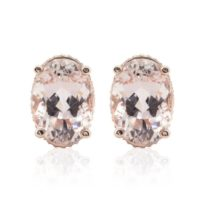 Morganite Earrings – 10x14mm Oval Morganite And Diamond Earrings With Rose Gold Filigree – Ls4689 | Natural genuine Gemstone jewelry. Buy crystal jewelry, handmade handcrafted artisan jewelry for women.  Unique handmade gift ideas. #jewelry #beadedjewelry #beadedjewelry #gift #shopping #handmadejewelry #fashion #style #product #jewelry #affiliate #ad
