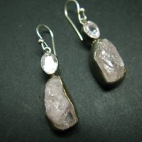 Fabulous Asymmetrical Raw And Faceted Pink Morganite Crystal Sterling Silver Earrings From Brazil | Natural genuine Gemstone jewelry. Buy crystal jewelry, handmade handcrafted artisan jewelry for women.  Unique handmade gift ideas. #jewelry #beadedjewelry #beadedjewelry #gift #shopping #handmadejewelry #fashion #style #product #jewelry #affiliate #ad