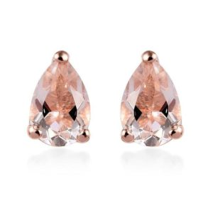Shop Morganite Earrings! Premium Marropino Morganite Stud Earring, Vermeil Rose Gold Earring, Solitaire Earring Gift For Her Gift For Woman, Tear Drop Earring | Natural genuine Morganite earrings. Buy crystal jewelry, handmade handcrafted artisan jewelry for women.  Unique handmade gift ideas. #jewelry #beadedearrings #beadedjewelry #gift #shopping #handmadejewelry #fashion #style #product #earrings #affiliate #ad