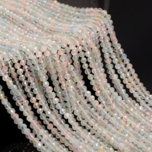 Shop Morganite Faceted Beads! 3.5mm Morganite Gemstone Pink Micro Faceted Round Grade Aaa Beads 15.5inch Bulk Lot 1, 6, 12, 24 And 48 (80010214-a192) | Natural genuine faceted Morganite beads for beading and jewelry making.  #jewelry #beads #beadedjewelry #diyjewelry #jewelrymaking #beadstore #beading #affiliate #ad