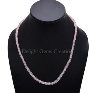 Shop Morganite Necklaces! Pink Morganite Beaded Necklace, 4mm-6mm Natural Morganite Faceted Rondelle Beads Necklace, Pink Beryl, AAA++ High Quality Morganite Jewelry   Natural genuine Morganite necklaces. Buy crystal jewelry, handmade handcrafted artisan jewelry for women.  Unique handmade gift ideas. #jewelry #beadednecklaces #beadedjewelry #gift #shopping #handmadejewelry #fashion #style #product #necklaces #affiliate #ad