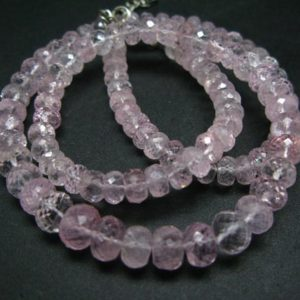 """Shop Morganite Necklaces! Sparkly Graduated  Faceted Rondelle Natural Morganite Gemstone Bead Necklace from Brazil – 19""""   Natural genuine Morganite necklaces. Buy crystal jewelry, handmade handcrafted artisan jewelry for women.  Unique handmade gift ideas. #jewelry #beadednecklaces #beadedjewelry #gift #shopping #handmadejewelry #fashion #style #product #necklaces #affiliate #ad"""