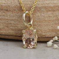 Dainty Oval Morganite Pendant 7x5mm Peachy Pink In Solid Gold Ls5688 | Natural genuine Gemstone jewelry. Buy crystal jewelry, handmade handcrafted artisan jewelry for women.  Unique handmade gift ideas. #jewelry #beadedjewelry #beadedjewelry #gift #shopping #handmadejewelry #fashion #style #product #jewelry #affiliate #ad