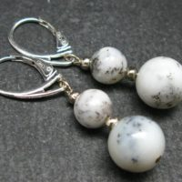 Energy! Genuine 8mm And 10mm Merlinite Moss Agate Round Beads Dangle 925 Silver Leverback Earrings From Madagascar | Natural genuine Gemstone jewelry. Buy crystal jewelry, handmade handcrafted artisan jewelry for women.  Unique handmade gift ideas. #jewelry #beadedjewelry #beadedjewelry #gift #shopping #handmadejewelry #fashion #style #product #jewelry #affiliate #ad