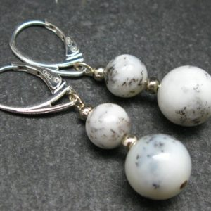 Shop Moss Agate Earrings! Energy! Genuine 8mm and 10mm Merlinite Moss Agate Round Beads Dangle 925 Silver Leverback Earrings From Madagascar | Natural genuine Moss Agate earrings. Buy crystal jewelry, handmade handcrafted artisan jewelry for women.  Unique handmade gift ideas. #jewelry #beadedearrings #beadedjewelry #gift #shopping #handmadejewelry #fashion #style #product #earrings #affiliate #ad