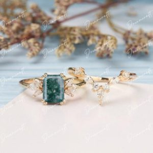 Shop Moss Agate Rings! Moss agate Engagement Ring Set Emerald Cut Engagement Ring Solid 14K Gold Wedding Bridal Ring Anniversary Ring Promise Ring For Her   Natural genuine Moss Agate rings, simple unique alternative gemstone engagement rings. #rings #jewelry #bridal #wedding #jewelryaccessories #engagementrings #weddingideas #affiliate #ad