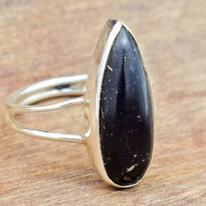 Natural Shungite Gemstone Ring, Beautiful Shungite Ring, 925 Sterling Silver Ring, Amazing Shungite Handmade Silver Ring, Gift For Her | Natural genuine Shungite rings, simple unique handcrafted gemstone rings. #rings #jewelry #shopping #gift #handmade #fashion #style #affiliate #ad