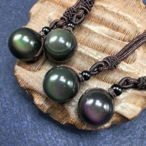Shop Obsidian Jewelry! Natural Obsidian Necklace, Rainbow Eye Black Obsidian Stone Pendant, Healing Necklace for Men, Spiritual Amulet Braided Necklace   Natural genuine Obsidian jewelry. Buy handcrafted artisan men's jewelry, gifts for men.  Unique handmade mens fashion accessories. #jewelry #beadedjewelry #beadedjewelry #shopping #gift #handmadejewelry #jewelry #affiliate #ad