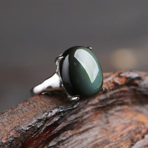 Shop Obsidian Rings! Natural Black Obsidian Gemstone Ring-Rainbow Eye Obsidian Ring-Scorpio Sagittarius Zodiac Ring-Healing Protective Birthstone Ring Gift Women | Natural genuine Obsidian rings, simple unique handcrafted gemstone rings. #rings #jewelry #shopping #gift #handmade #fashion #style #affiliate #ad