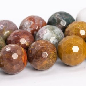 """Shop Ocean Jasper Faceted Beads! 10MM Multicolor Ocean Jasper Beads Grade AAA Genuine Natural Gemstone Micro Faceted Round Loose Beads 15"""" /7.5""""Bulk Lot Options (112207) 