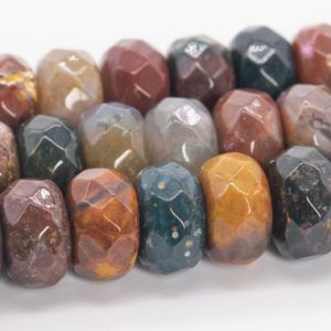 """Shop Ocean Jasper Faceted Beads! 10x6MM Multicolor Ocean Jasper Beads Grade AAA Genuine Natural Gemstone Faceted Rondelle Loose Beads 15"""" / 7.5"""" Bulk Lot Options (110577) 