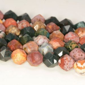 """Shop Ocean Jasper Faceted Beads! 6mm Genuine Ocean Jasper Beads Star Cut Faceted Grade Aaa Genuine Natural Gemstone Loose Beads 14.5"""" Bulk Lot 1, 3, 5, 10 And 50 (80006002-m26) 