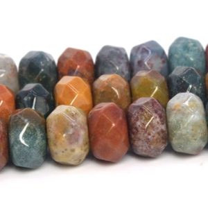 Shop Ocean Jasper Faceted Beads! Ocean Jasper Beads Grade AAA Genuine Natural Gemstone Faceted Rondelle Loose Beads 6x4MM 8x4MM Bulk Lot Options | Natural genuine faceted Ocean Jasper beads for beading and jewelry making.  #jewelry #beads #beadedjewelry #diyjewelry #jewelrymaking #beadstore #beading #affiliate #ad