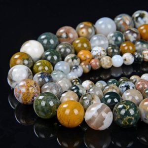 Ocean Jasper Gemstone Grade AAA Round 6MM 8MM 10MM 12MM Loose Beads (D1) | Natural genuine round Ocean Jasper beads for beading and jewelry making.  #jewelry #beads #beadedjewelry #diyjewelry #jewelrymaking #beadstore #beading #affiliate #ad