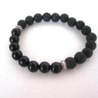 Black Onyx Lava Stone Bracelet, Lava Stone Jewelry, 8mm Stretch Bracelet, Black Bracelet Jewelry, Diffuser Bracelet Diffuser Jewelry | Natural genuine Gemstone jewelry. Buy crystal jewelry, handmade handcrafted artisan jewelry for women.  Unique handmade gift ideas. #jewelry #beadedjewelry #beadedjewelry #gift #shopping #handmadejewelry #fashion #style #product #jewelry #affiliate #ad