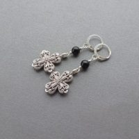 Dangle Earrings Silver Cross And Black Onyx Idea Gift For Women For Sister For Mom For Girlfriend. | Natural genuine Gemstone jewelry. Buy crystal jewelry, handmade handcrafted artisan jewelry for women.  Unique handmade gift ideas. #jewelry #beadedjewelry #beadedjewelry #gift #shopping #handmadejewelry #fashion #style #product #jewelry #affiliate #ad