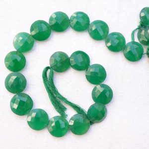 Shop Onyx Faceted Beads! Natural Green Onyx Beads, Faceted Green Onyx Gemstone, Round Shape Semi Precious Gemstone For Jewellery, 14mm Bead Strand #PP3233 | Natural genuine faceted Onyx beads for beading and jewelry making.  #jewelry #beads #beadedjewelry #diyjewelry #jewelrymaking #beadstore #beading #affiliate #ad