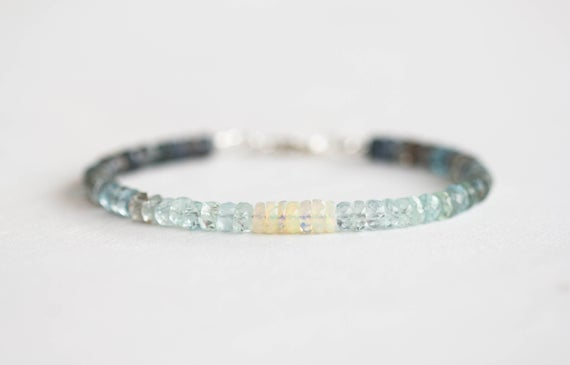 Moss Aquamarine Bracelet With Welo Opal, Delicate Ethiopian Opal Jewelry, Beaded Shaded Jewelry, Sterling Silver Or Rose Gold Filled