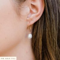 Freshwater Pearl Raw Crystal Hoop Earrings In Gold, Silver, Bronze, Or Rose Gold – Natural Crystal June Birthstone Hoops | Natural genuine Gemstone jewelry. Buy crystal jewelry, handmade handcrafted artisan jewelry for women.  Unique handmade gift ideas. #jewelry #beadedjewelry #beadedjewelry #gift #shopping #handmadejewelry #fashion #style #product #jewelry #affiliate #ad