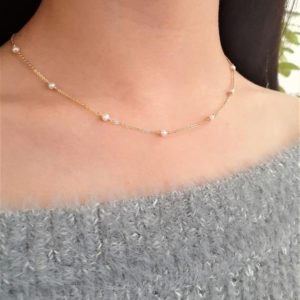 Shop Pearl Necklaces! Freshwater Pearl Necklace, Pearl Choker / June Birthstone, Handmade Jewelry / Simple Gold Necklace, Delicate Pearl Necklace / Bridal Wedding | Natural genuine Pearl necklaces. Buy handcrafted artisan wedding jewelry.  Unique handmade bridal jewelry gift ideas. #jewelry #beadednecklaces #gift #crystaljewelry #shopping #handmadejewelry #wedding #bridal #necklaces #affiliate #ad
