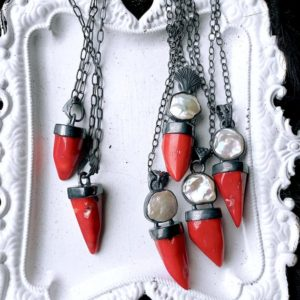 Shop Pearl Necklaces! Red Coral and biwa pearl necklace | Natural genuine Pearl necklaces. Buy crystal jewelry, handmade handcrafted artisan jewelry for women.  Unique handmade gift ideas. #jewelry #beadednecklaces #beadedjewelry #gift #shopping #handmadejewelry #fashion #style #product #necklaces #affiliate #ad