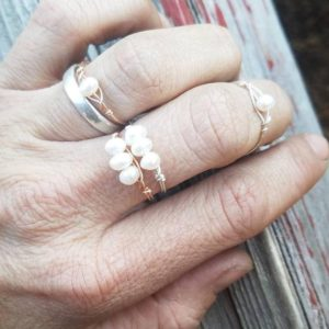 Shop Pearl Rings! White Fresh water pearl Crystal ring- made to order, white pearl ring, pearl ring, natural pearl ring, pearl stone ring | Natural genuine Pearl rings, simple unique handcrafted gemstone rings. #rings #jewelry #shopping #gift #handmade #fashion #style #affiliate #ad